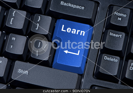 Button learn computer keyboard concept of education.
