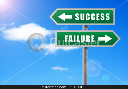 Arrows success failure on sky background. stock photo, Arrows success failure on sky background. by Borys Shevchuk