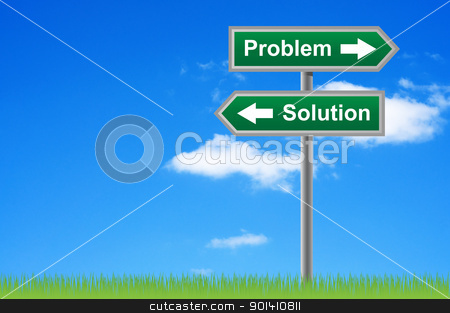 Arrows road sign problem solution on sky background. stock photo, Arrows road sign problem solution on sky background. by Borys Shevchuk