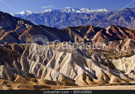 Zabruski Point Snowy Panamint Mountains Death Valley National Pa stock photo, Zabriski Point Snowy Panamint Mountains Death Valley National Park California by William Perry