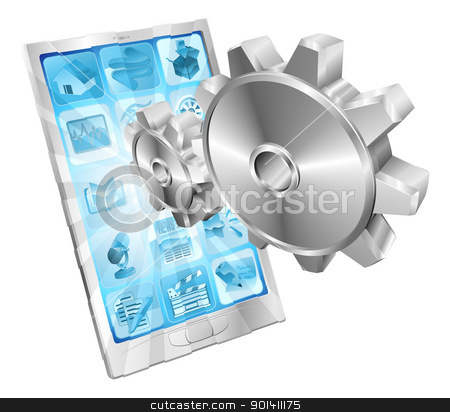 Gear cogs flying out of phone screen concept stock vector clipart, Gear cogs flying out of phone screen tune up or settings application concept illustration.  by Christos Georghiou