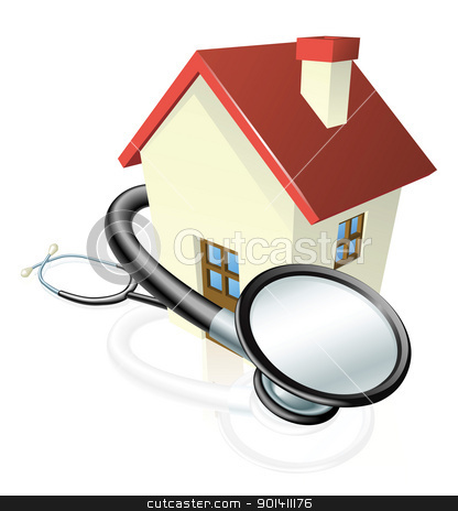 House and stethoscope concept stock vector clipart, A house with a stethoscope wrapped round it. Concept for property maintenance or other real estate related. by Christos Georghiou