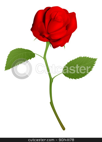 Illustration of a beautiful red rose stock vector clipart, An illustration of a beautiful red rose by Christos Georghiou
