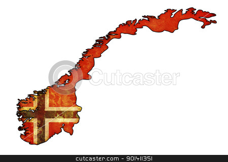norway flag on territory stock photo, old map of norway with flag on country territory by michal812