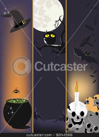 Halloween banners  stock vector clipart, Witch hat with web and cauldron.Owl on a branch.Pile of skulls. by Oko Laa
