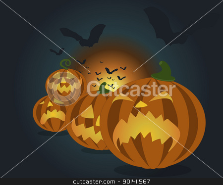 Pumpkin-heads  stock vector clipart, Pumpkin-heads stack, with bats on the dark night background. by Oko Laa