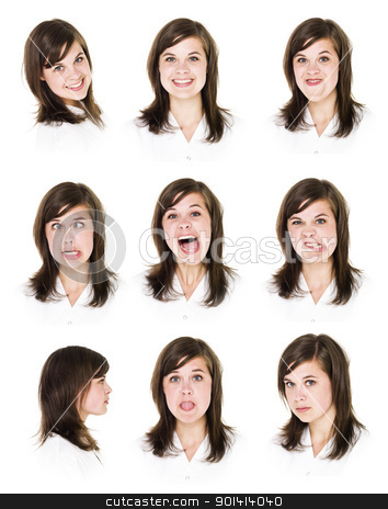 Nine portraits of a woman stock photo, Nine portraits of a young woman isolated on white background by Anne-Louise Quarfoth