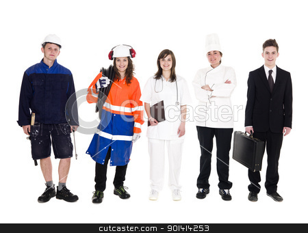 Group of people with different occupation stock photo, Group of people with different occupation isolated on white background by Anne-Louise Quarfoth