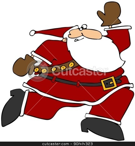 Running Santa stock photo, This illustration depicts Santa Claus running and looking behind him. by Dennis Cox