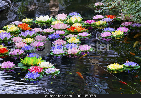 Carp Pond Artificial Water Lillies Jade Buddha Temple Jufo Si Sh stock photo, Carp Pond Colorful Artificial Water Lillies Jade Buddha Temple Jufo Si Shanghai China Most famous buddhist temple in Shanghai by William Perry
