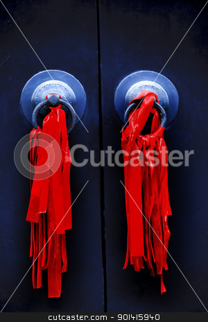 Black Door Red Ribbons Jade Buddha Temple Jufo Si Shanghai China stock photo, Black Door Red Reibbons Chinese New Year Decoarations Jade Buddha Temple Jufo Si Shanghai China Most famous buddhist temple in Shanghai by William Perry