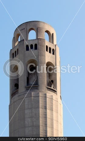 San Francisco Coit Tower stock photo, Closeup of the historical Coit Tower in San Francisco, California by Henrik Lehnerer