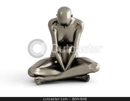 Female Depression stock photo, Abstract 3D rendered illustration of a depressed woman. Isolated on white. by Michael Osterrieder