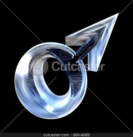 Male sex symbols in glass (3D) stock photo, Male sex symbols in glass