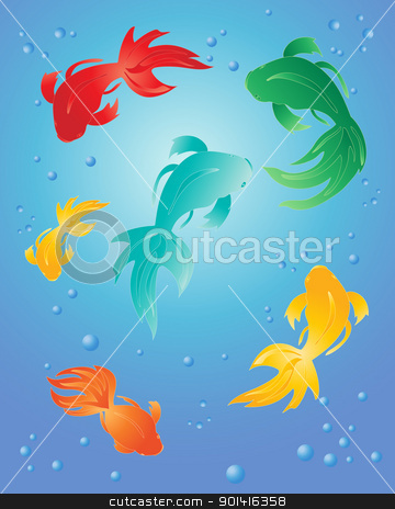 colorful fish stock vector clipart, an illustration of colorful fish on a blue background with bubbles by Mike Smith