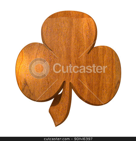 3D shamrock in wood stock photo, 3D made - shamrock in wood by Fabrizio Zanier