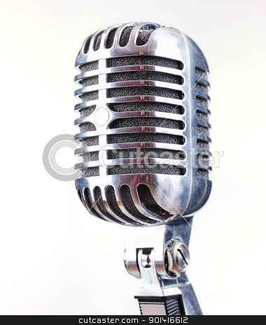 Retro Microphone stock photo, Retro Microphone, on white background by iMarin