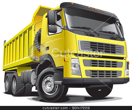 lagre yellow truck stock photo, Detailed vectorial image of large yellow truck, isolated on white background. File contains gradients. by busja