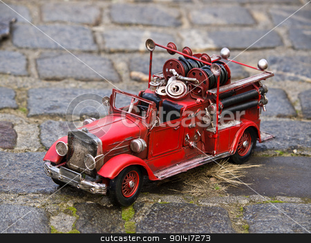 replica of firetruck stock photo, replica of firetruck on the open court by nevenm