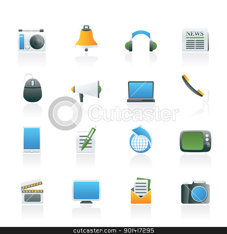 Communication and media icons  stock vector clipart, Communication and media icons - vector icon set by Stoyan Haytov