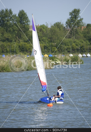 Sailing dingy stock photo, Sailing dingy rosswell Pits, Ely  by Martin Garnham
