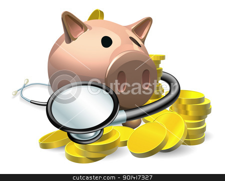 Financial health check concept stock vector clipart, Financial health check concept. A piggy bank with coins and stethoscope wrapped round it.  by Christos Georghiou