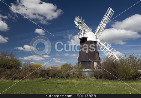 Wicken Windmill stock photo, Wicken Windmill in the county of Cambridgeshire by Martin Garnham