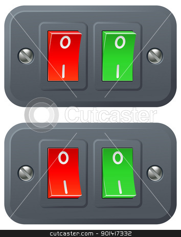 Red and green switches stock vector clipart, Illustration of red and green switches in on and off positions by Christos Georghiou
