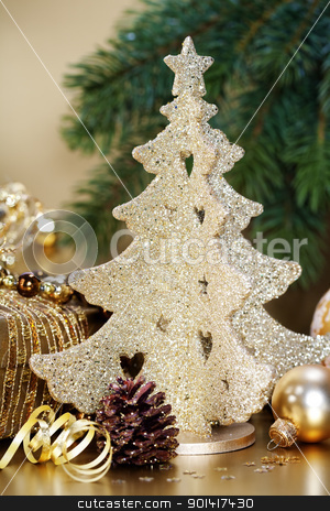 Christmas composition stock photo, Christmas composition with Christmas decoration by klenova