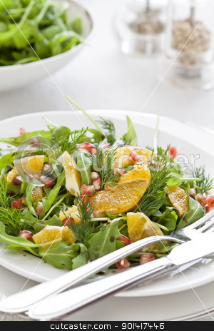 Gourmet Salad Meal stock photo, Close up photograph of a fresh healthy salad  by mpessaris