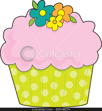 Cupcake stock photo, A cupcake with a fluted, lime green, polka dot cake cup, is decorated with pink icing and flowers. by Maria Bell