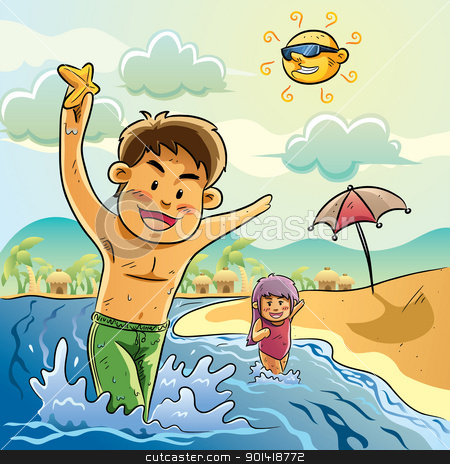 Kids Playing on The Beach stock vector clipart, cartoon illustration of kids playing on the beach for your summer greeting by H4nK