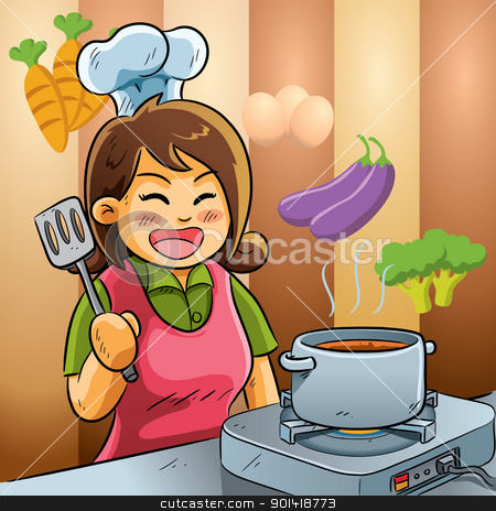Mommy Love Cooking stock vector clipart, cartoon illustration of mommy cooking for a dish by H4nK