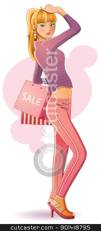 Sexy Girl Shopping stock vector clipart, cartoon illustration of sexy girl shopping for your promotion image by H4nK