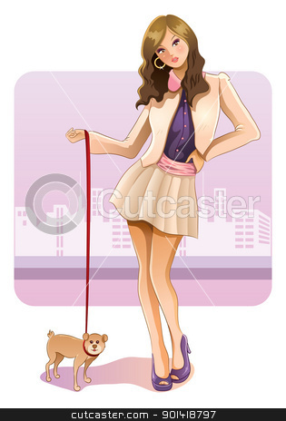 Sexy Girl With Puppy stock vector clipart, cartoon illustration of pretty girl walk around city with puppy by H4nK