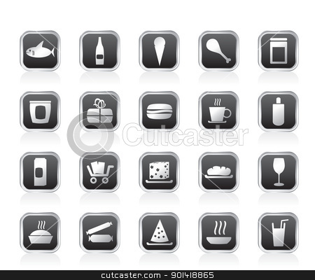 Shop and Foods Icons stock vector clipart, Shop and Foods Icons - Vector Icon Set by Stoyan Haytov