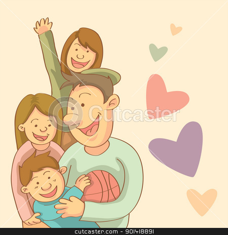 Happy Family stock vector clipart, cartoon illustration of happy family chit chat by H4nK