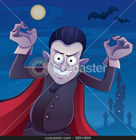 Dracula Cartoon stock vector clipart, cartoon illustration of dracula for your halloween image by H4nK