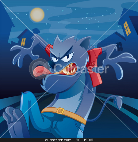 Werewolf Cartoon stock vector clipart, cartoon illustration of werewolf for your halloween image by H4nK