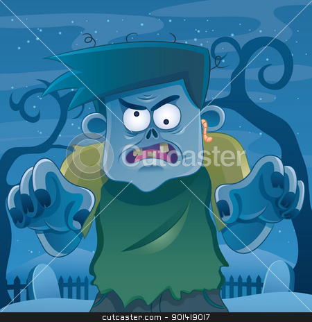 Zombie Cartoon stock vector clipart, cartoon illustration of zombie for your halloween image by H4nK
