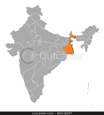 Map of India, West Bengal highlighted stock vector clipart, Political map of India with the several states where West Bengal is highlighted. by Schwabenblitz