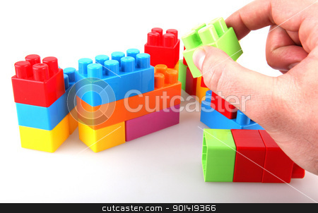Plastic toy blocks stock photo, Plastic toy blocks on white background by Nenov Brothers Images