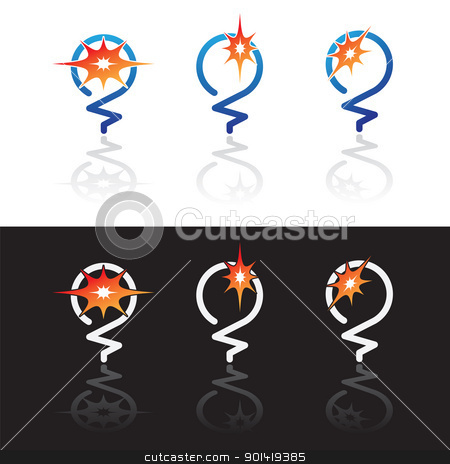 glowing light bulbs stock vector clipart, Abstract Glowing light bulbs symbols isolated on white and black backgrounds by antkevyv