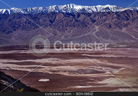Badwater from Dante View with Panamint Mountains Death Valley Na stock photo, Salt Badwater Basin Panamint Mountains from Dante's View Death Valley National Park California Lowest spot in the Western Hemisphere 282 Feet below Sea Level from Highest Point in Death Valley by William Perry