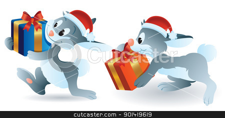Christmas Bunny stock vector clipart, cartoon illustration of christmas bunny bring present by H4nK
