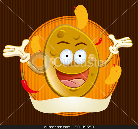 Potato Chips Mascot stock vector clipart, cartoon illustration of happy potato chips mascot by H4nK