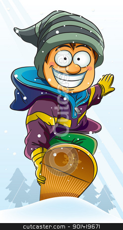 Boy Playing Snowboard stock vector clipart, cartoon illustration of boy playing snowboard at holiday by H4nK