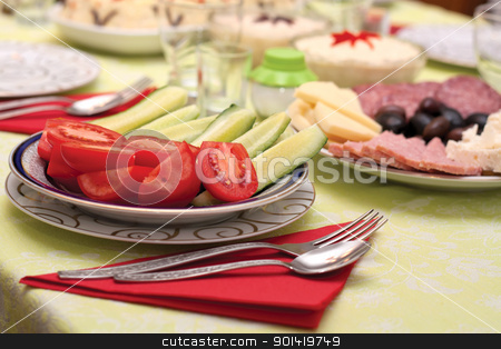 Dinner Table stock photo, This image represents a delicious vegetable appetizer dish. by Bagiuiani Kostas