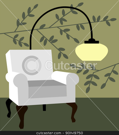 White armchair on natur background modern interior vector illustration stock vector clipart, Modern chair and lamp on green natur wallpaper design for home interior full scalable vector graphic included Eps v8 and 300 dpi JPG by Ela Kwasniewski