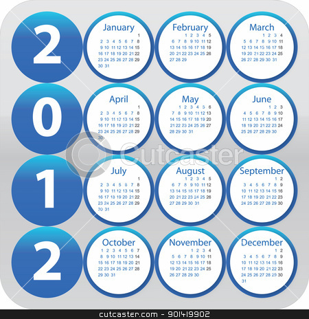 Calendar for 2012 stock vector clipart, Rounded calendar for year 2012 by Mile Atanasov